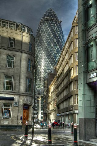 Swiss Re building, St Mary's Axe, London, HDR image. by Scott Joyce