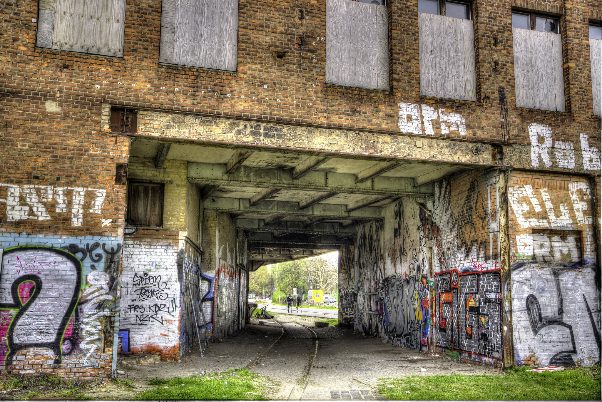 HDR shot of inside and out of building.