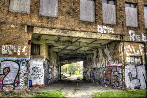 HDR shot of inside and out of building. by Scott Joyce