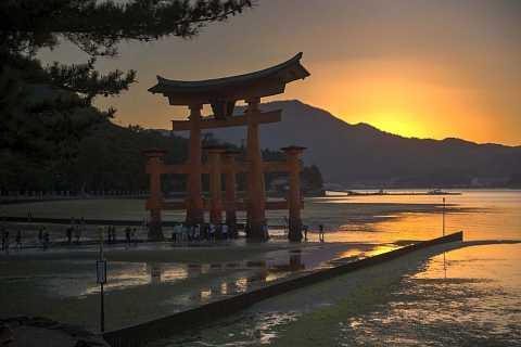 The Great Torii at sunset, Miyajima by Scott Joyce