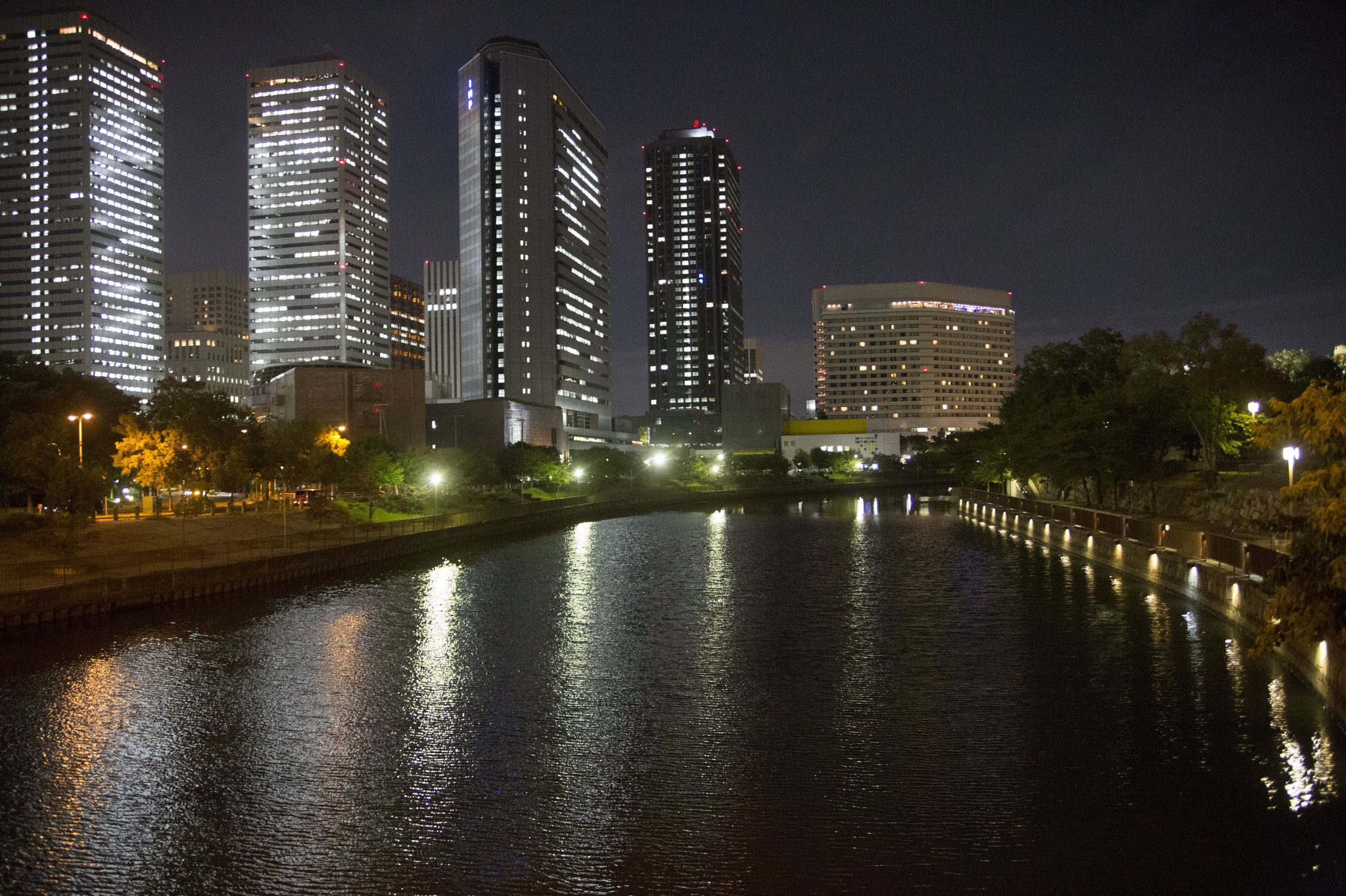 View over the moat surrounding Osaka Castle