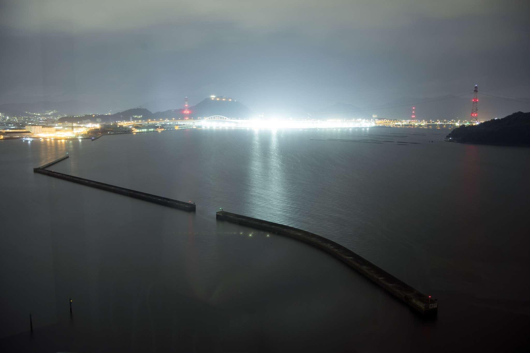 Hiroshima port at night