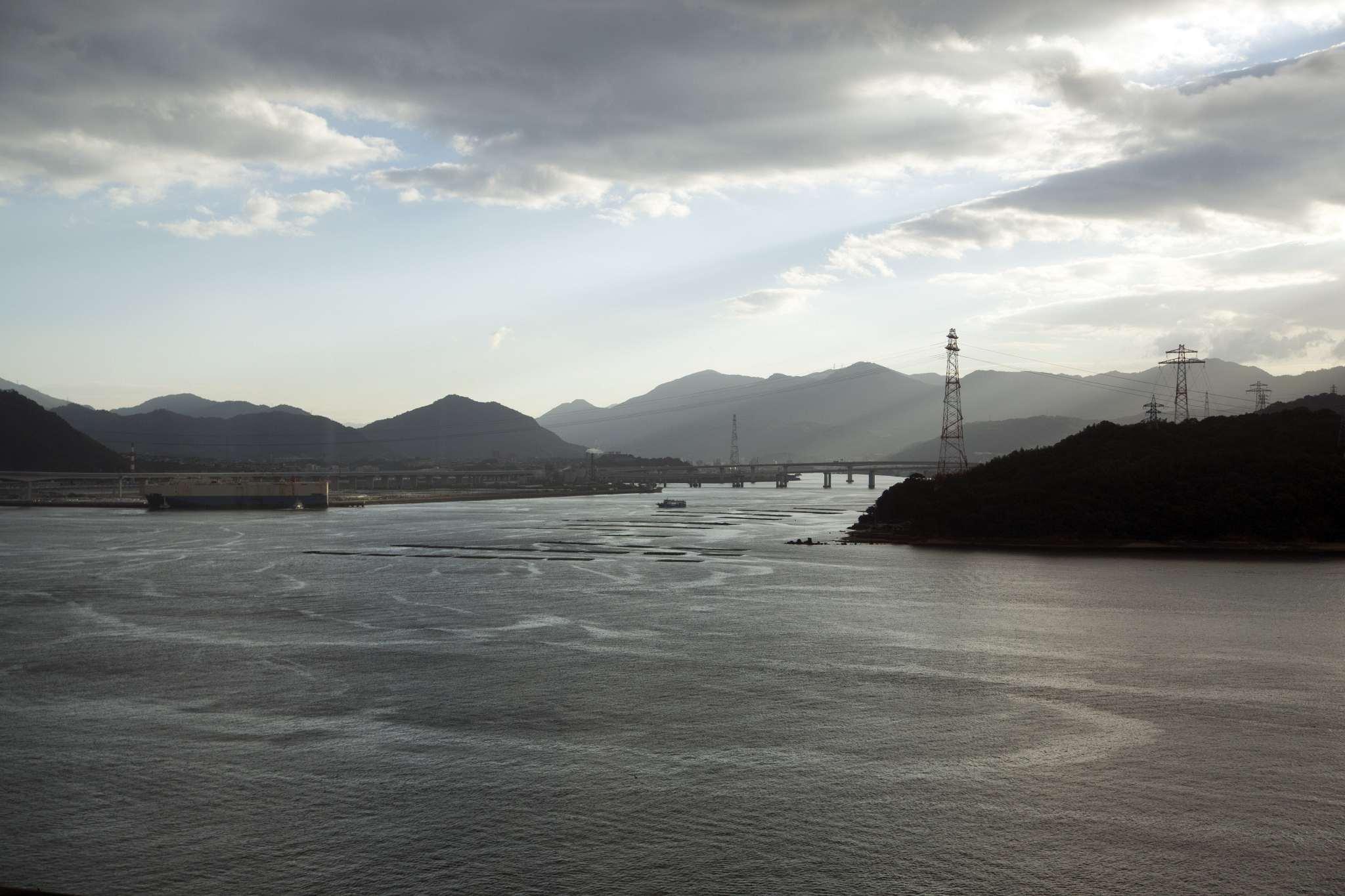 Hiroshima Port at low tide.