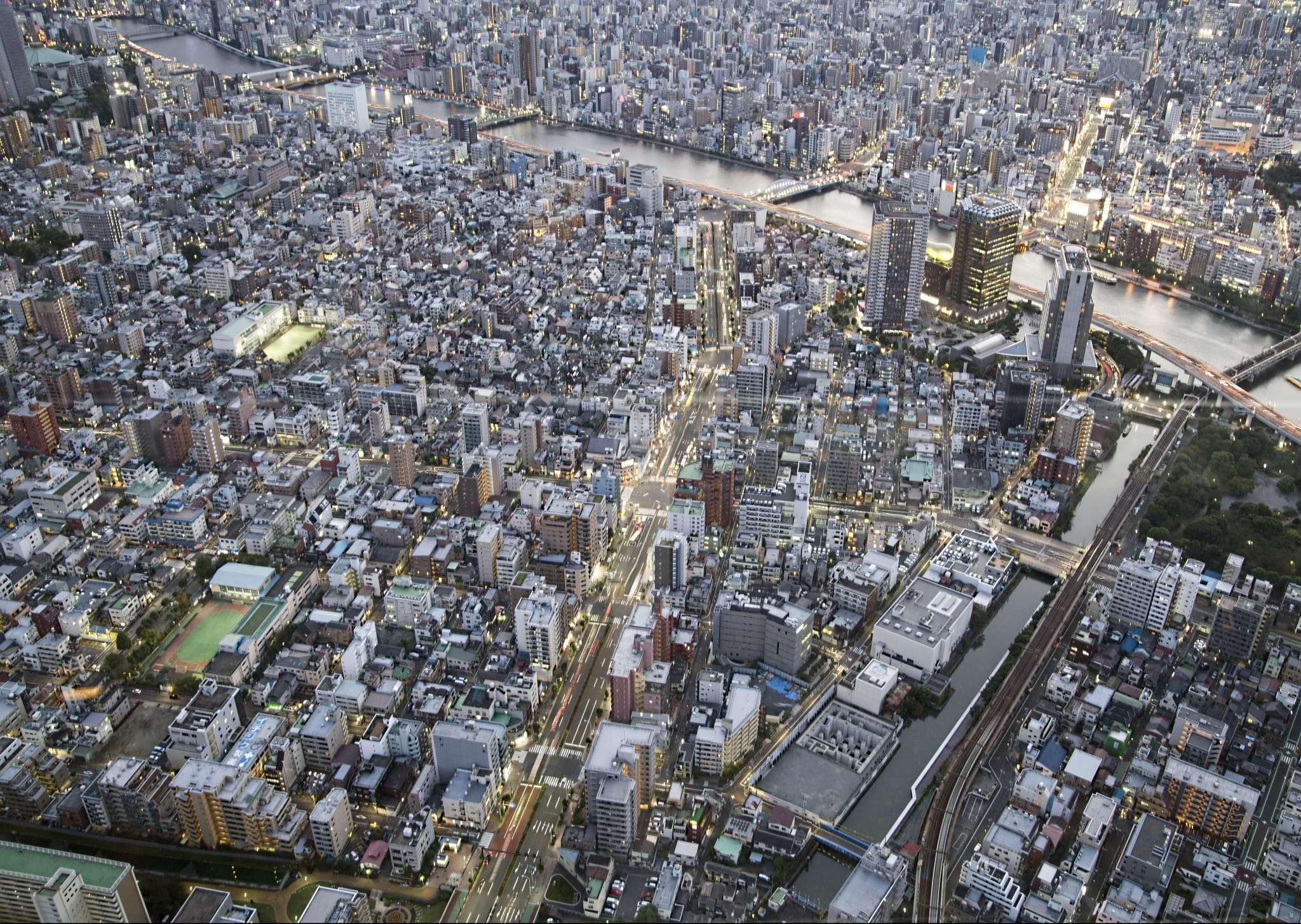 Tokyo from the air at dusk