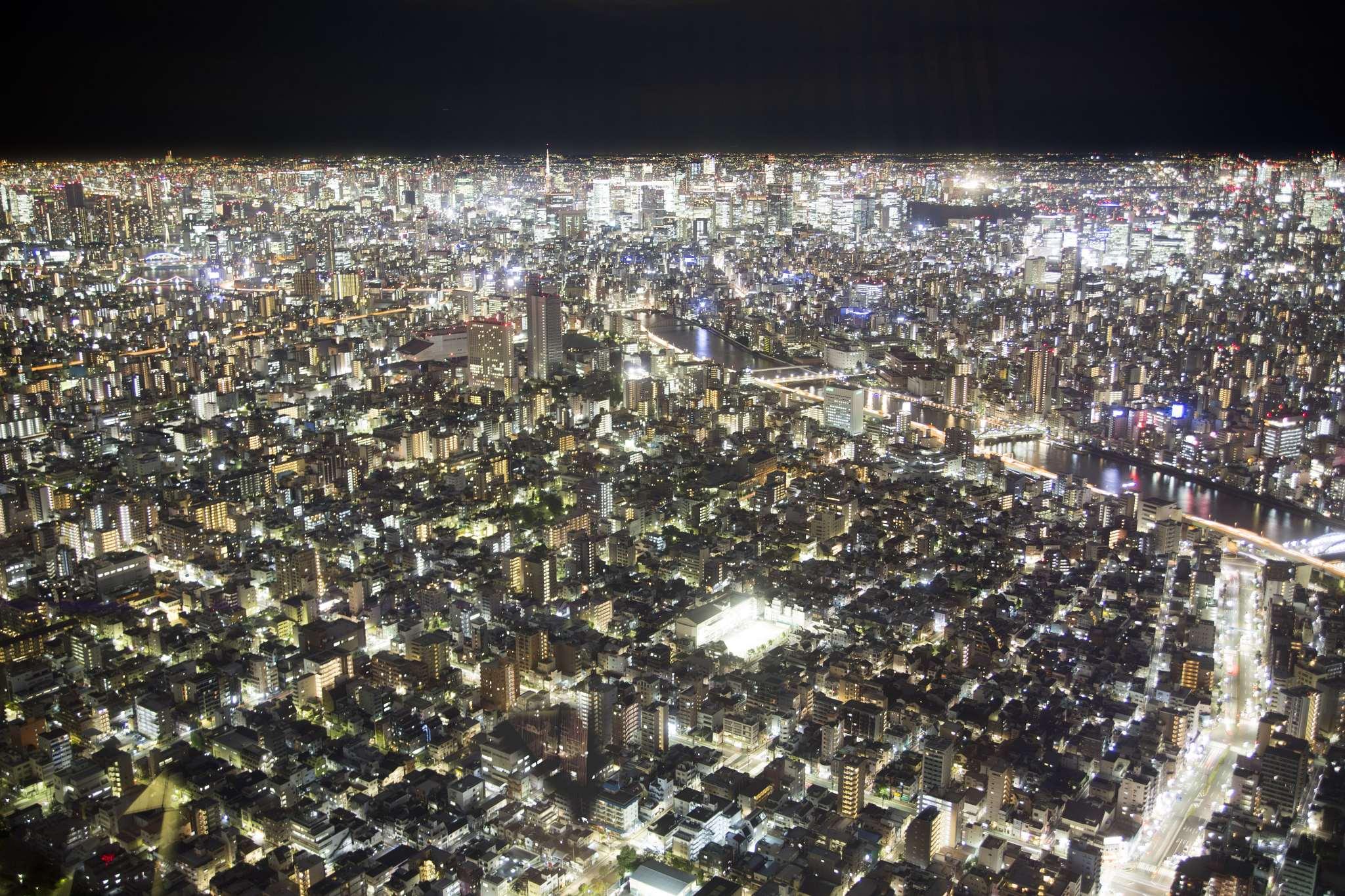 Tokyo from the air at night