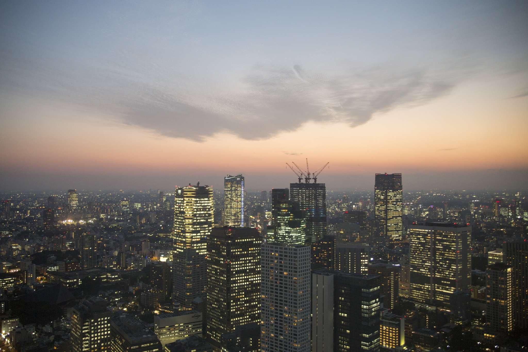 Tokyo skyline at sundown