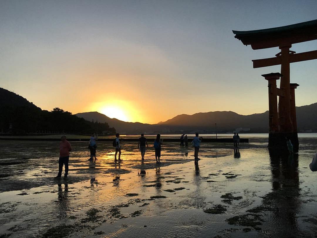 Miyajima Great Torii at sunset.