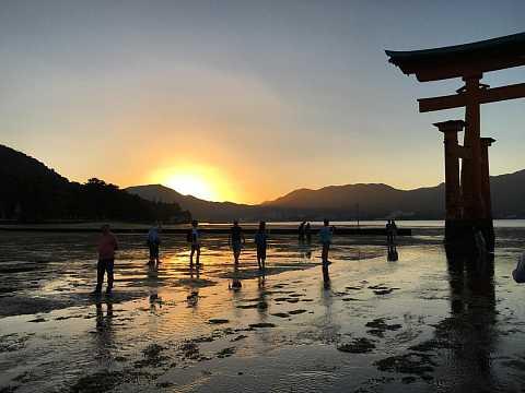 Miyajima Great Torii at sunset. by Scott Joyce