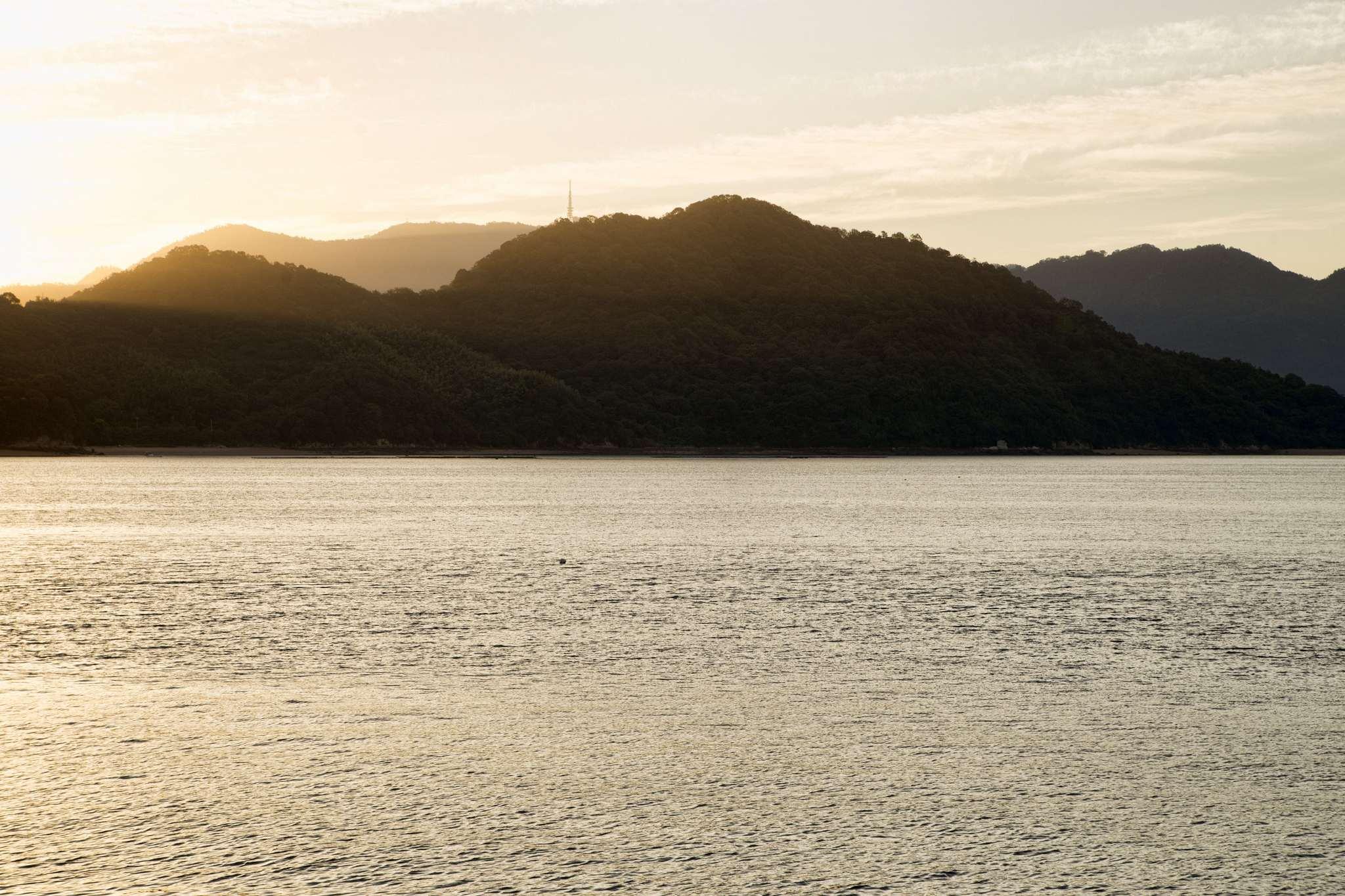 Islands off Hiroshima's coast at dawn