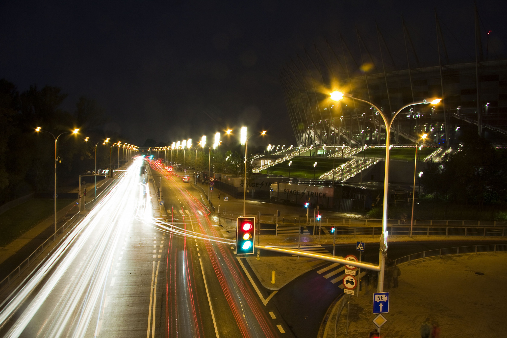 Long exposure over road