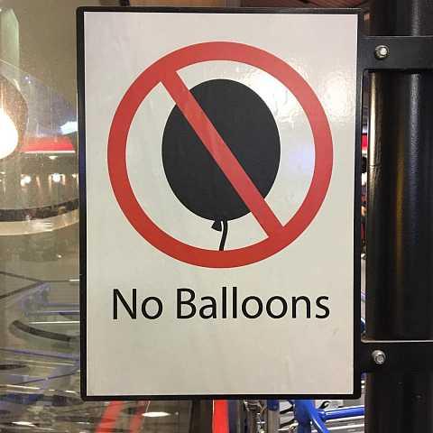 The saddest sign in the world. #noballoons by Scott Joyce