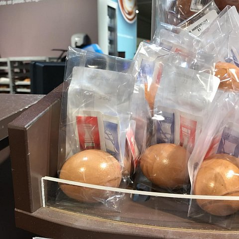 Individually wrapped boiled eggs with handy salt/pepper sachets  by Scott Joyce