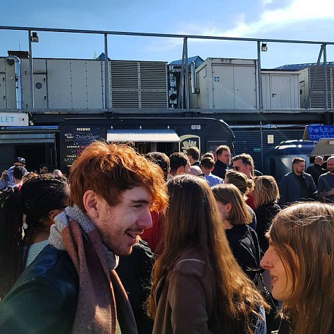 The long long queue for burgerness by Scott Joyce