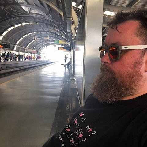 Long day. Waiting for a train home. #yawnie by Scott Joyce