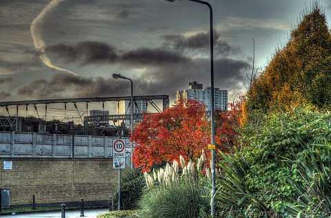 Overlooking the train line, Camden, London. HDR. by Scott Joyce