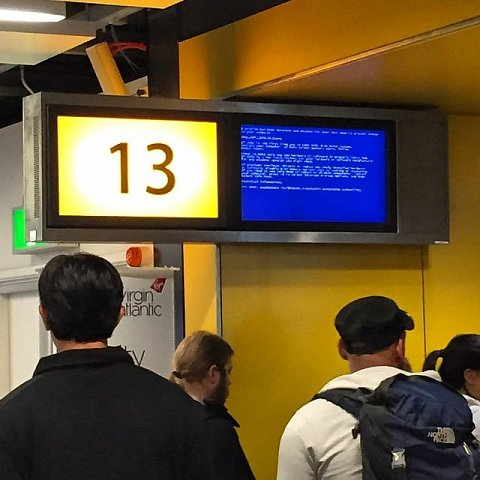 """These guys are off to """"Blue Screen of Death"""" #gatwick by Scott Joyce"""