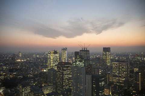 Tokyo skyline at sundown by Scott Joyce